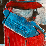 Disposable Old Lady in Red Coat, acrylic, marker, surgical mask on paper, 30 x 40 cm, 2021