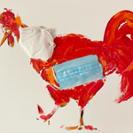Disposable Red Cockerel, surgical mask, FFP2, acrylic on gesso board, 50 x 60 x 3 cm, 2021