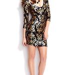 Dynamite - robe style baroque noir et doré - 69,90$