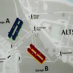 Der Übersichtsplan der Altstadt-Garagen (Mönchsberg-Garagen)
