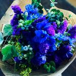2017年4月 表参道&飯田1dayレッスン「青と紫のナチュラルブーケ(生花)」