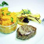 Steaks mit Kohlrabi-Chips & Süßkartoffel-Püree