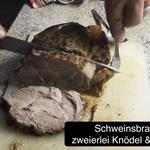 Schweinsbraten mit zweierlei Knödel und Stöcklkraut