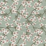 AUSVERKAUFT: besch. Baumwolle AU Maison - Design: Amalie / Kirschblüten-/zweige - Farbe: verte