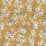 besch. Baumwolle AU Maison - Design: Amalie / Kirschblüten-/zweige - Farbe: mustard
