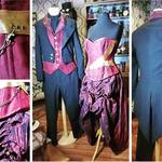 Ensemble mariage, suédine et coton, corset sur mesure avec ajout de cuir