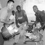 Performing with Madunin Kante and Fakaba, Bamako 1997