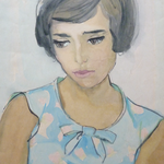 1958, Frau mit blau getupfter Bluse, 34 x 45, Aquarell