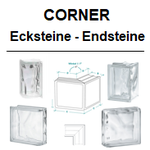Corner 90° 60° 135 ° Sonderteile Endstein Eckstein Linear End Double End curved terminal Clear Glasbausteine-Center.de Glassteine Glass Blocks Glasbaustein gerade Terminale Lineaire Lineal Kurvenendstein Österreich Schweiz Belgique Nederland dansk danmark