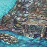 「堂ヶ島」   2008.5  P30号 雲肌麻紙、岩絵具、銀箔、ピグメント