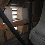 Dohlen-Nistkästen hinter den Schall-Lamellen im Glockenturm