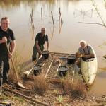 Ralf Böhme, Volker Woitzik, Bernd Flieger und Jan Ebert (nicht im Bild) errichteten das Brutfloß am Ufer des Schlämmsees in Trieb
