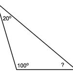Alle drie de hoeken in een driehoek zijn samen een gestrekte hoek, dus 180 graden.