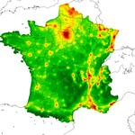 Estimation du dioxyde d'azote à l'échelle nationale (résolution 2 km), projet Gazel, réalisation GeographR