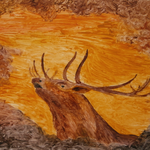 Hirsch inm Herbst. Öl. 36x26 cm