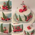 Weihnachtsmann und seine Helfer sind unterwegs (Schokoladenbiskuit mit Schokoladenbuttercreme)