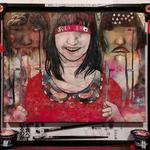「嘔吐恐怖症」タテ40㎝×ヨコ45㎝ 和紙に墨、水干、岩絵の具、アクリル絵の具、赤い糸、五円玉、新聞紙