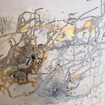 Expressive Acryl-Sand-Formation mit  Modellierpaste  Grösse  70 cm x 50 cm