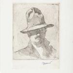 Dalbanne, Autoportrait au chapeau, 20x15