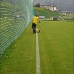 Linienziehen am Fußballplatz