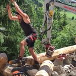 Umbau Feuerwehrhaus, Zugang Lift: Montage Krainerwand