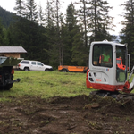 Letzte Erdarbeiten Rückbau Pflanzgarten
