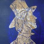 Vogeler in Worpswede    2012, Holzschnitt Dieses Bild bezieht auf den erfolgreichen Jugendstilkünstler in Worpswede. Im Hintergrund des Kopfes befinden sich Ornamente der Güldenkammer. Der Holzschnitt ist mit zwei Platten in blau und in gold gedruckt.