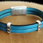 bracelet en cuir bleu ; bracelet hommes et femmes en cuir ; cadeau pour noces de cuir