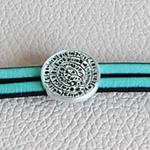 Bracelet en cuir turquoise ; bracelet cuir fait main