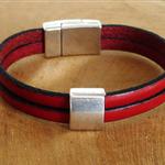bracelet cuir rouge et argent ; cadeau masculin