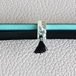Bracelet cuir avec pompon ; bracelet turquoise et noir ; les anniversaires de mariage