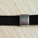 Bracelet en cuir pour homme ; bracelet cuir noir simple ; cadeau pour homme