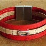 Bracelet en liège rouge