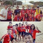 Der 3. Platz der Kategorie bis 17 Jahre bei den Beach Soccer Bundesmeisterschaften 2017 in Natal, Bundesstaat Rio Grande do Norte. Oberes Foto ist Dito der 2. V. links, und ich unten in der Mitte mit noch langen Haaren