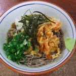 In Shuzenji station, there is a cafeteria and I ate a delicious dish of cool Japanese noodles topped with tempura of small pinkish shrimps.