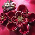 大花ピンクリップ オーガンジー赤