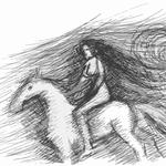 Amazone zu Pferde beim nächtlichen Ausritt