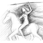 Amazone in Kämpferpose mit Speer zu Pferde