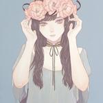 「彼女が花の命を盗んだ」 318x410mm キャンバスにアクリル Acrylic on Canvas