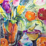 Still Life with Tulips and Oranges 14,2 in. x 18,9 in. - 36 x 48 cm - 480,00 Euro