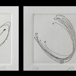 Les vagabondes, ces graines qui se ressèment au gré du vent, trajectoire poétique de leur passage, clin d'œil à Gilles Clément, gravure eau-forte, 6x6 cm, Gravures de poche II, Aqua forte, Reims, 2012