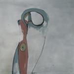 Une valse à deux temps, encre sur papier Arches, 120x120 cm, 2001