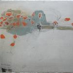 Coquelicots, encre sur papier Arches, 76x57 cm, 2008