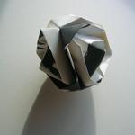 Météorite, origami, encre de chine sur papier, 15x15x15 cm, Arches, 2006