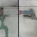 Dyptique, encre sur papier Arches, 114x57 cm, 2005