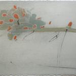 Coquelicots en prise au vent, encre sur papier Arches, 76x57 cm, 2008