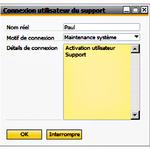 connexion support utilisateur - sap busines one 9.2