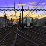 夕日にむかって(大阪線御影~琵琶)