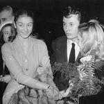 L'actrice Anouk Aimée, Michel Auclair et Cécile Aubry