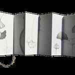 """""""História de uma Ginkgo""""- livro feito à mão com papel japonês washi, grafite sobre papel e fita de cetim - medida variável 2018"""